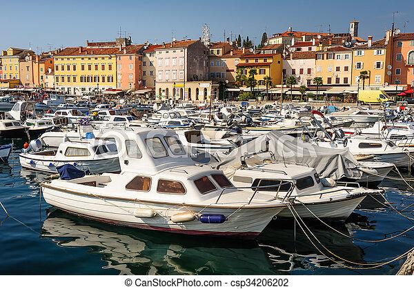 Marina of Rovinj town, Croatia - csp34206202