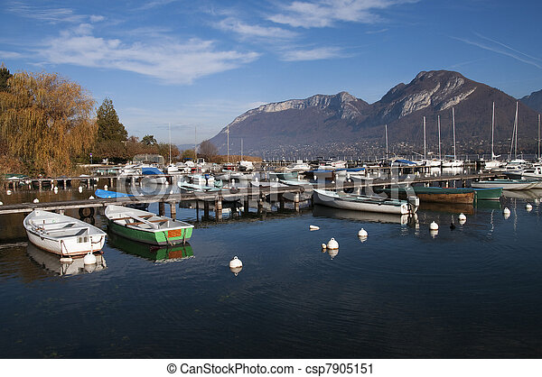Marina of Saint-Jorioz on Annecy lake - csp7905151