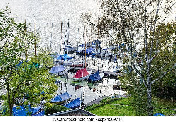 Marina on the lake - csp24569714