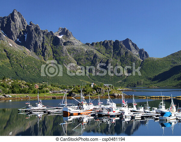 marina, panorâmico, iate, noruega - csp0481194