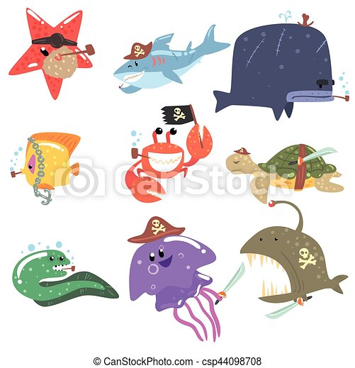 Marine Animals And Underwater Wildlife With Pirate Accesories And Attributes Set Of Comic Cartoon Characters - csp44098708