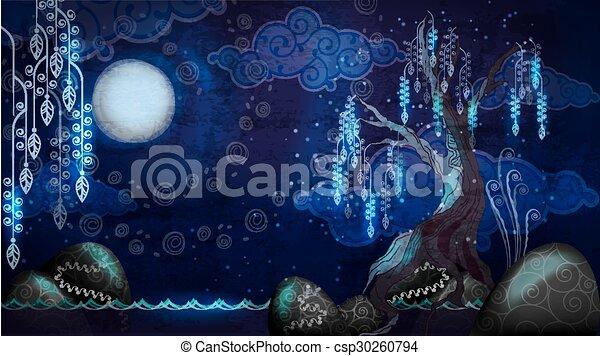 marine, arbre, dessin animé, lune - csp30260794