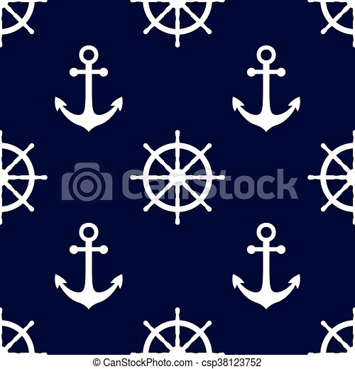Marine Background In Navy Blue And White Colors Sea Theme Cute Seamless Pattern