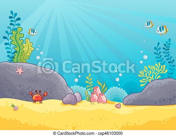 Marine background. Vector illustration of the underwater world. - csp46103000