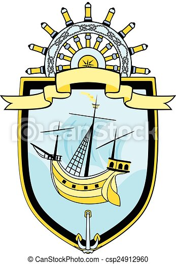 marine emblem ship steering wheel anchor and ribbon banner clip rh canstockphoto com marine clipart black and white marines clip art graphics