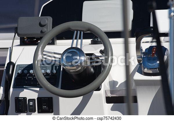 Marine luxury yacht boat cockpit, - csp75742430
