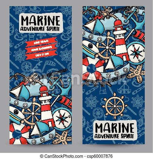 Marine nautical travel concept vertical banner template set modern marine nautical travel concept vertical banner template set modern hand drawn doodle design vector illustrator maxwellsz