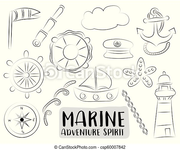 3c5a344dd Marine nautical travel icons set. Black and white hand drawn outline doodle  objects. Coloring page kids game. Vector illustrator.