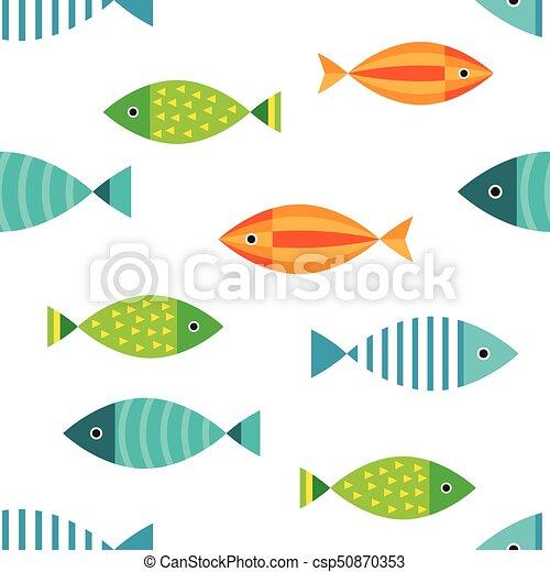 marine seamless pattern, fish - csp50870353