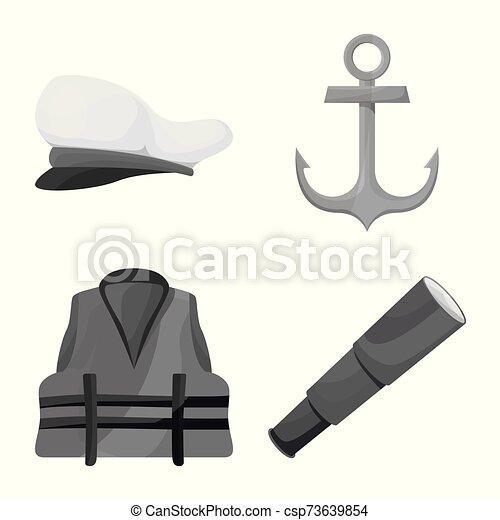 marinero, náutico, stock., icono, logo., vector, conjunto, viaje, diseño - csp73639854
