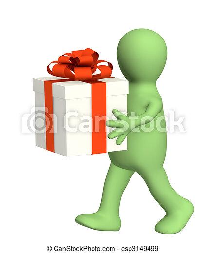 marionet, cadeau, 3d - csp3149499