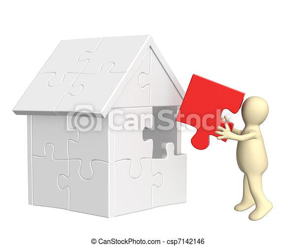 marionet, woning, 3d, gebouw - csp7142146