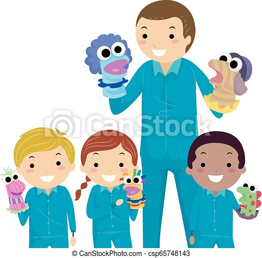 marionetki, dzieciaki, stickman, nauczyciel, ilustracja - csp65748143