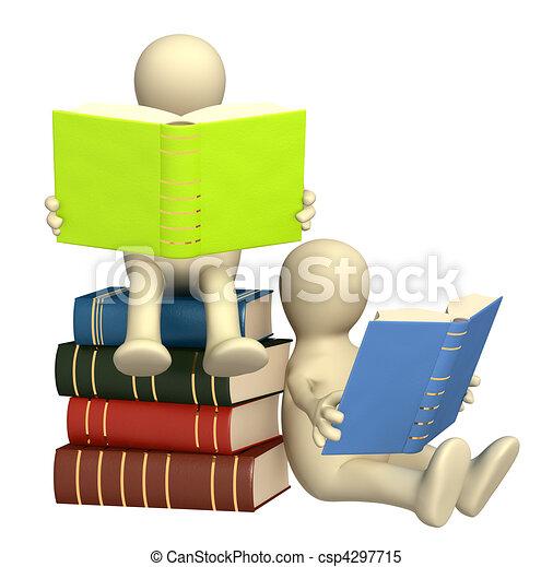 marionetten, boekjes , lezende , 3d - csp4297715