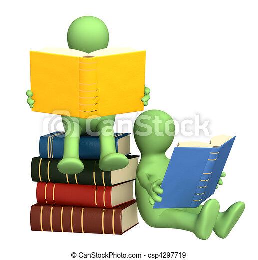 marionetten, boekjes , lezende , 3d - csp4297719