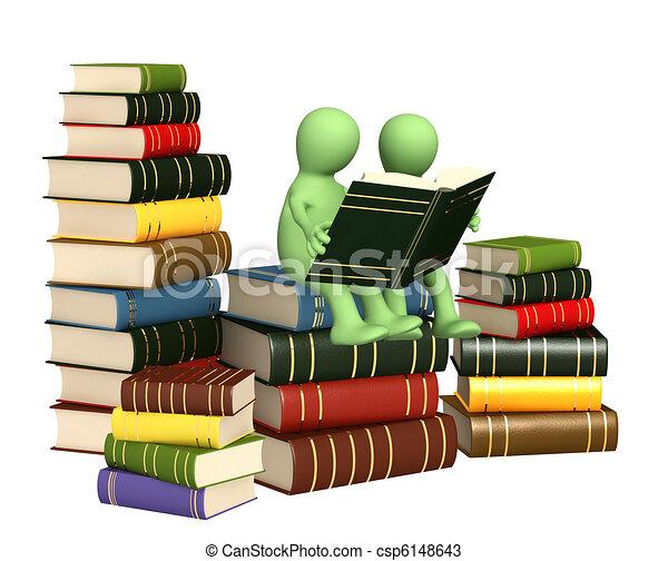 marionetten, boekjes , lezende , 3d - csp6148643