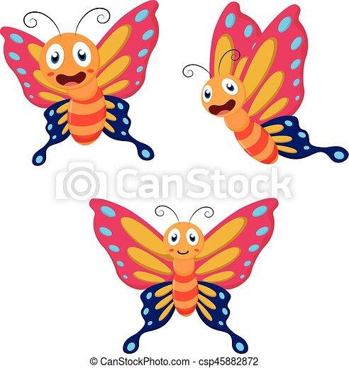 Linda colección de dibujos animados de mariposas - csp45882872