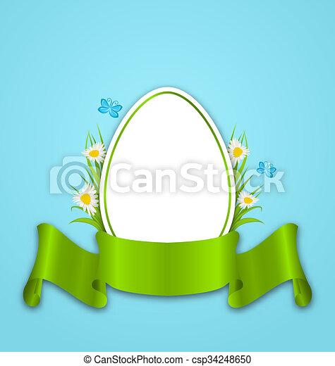 mariposa, cinta, espacio, texto, flores, pasto o césped, papel, margarita, copia, huevo, su, pascua - csp34248650