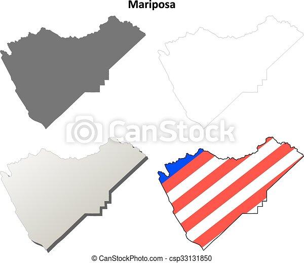 Mariposa County California Outline Map Set