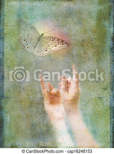Manos arriba buscando mariposa brillante - csp16248153