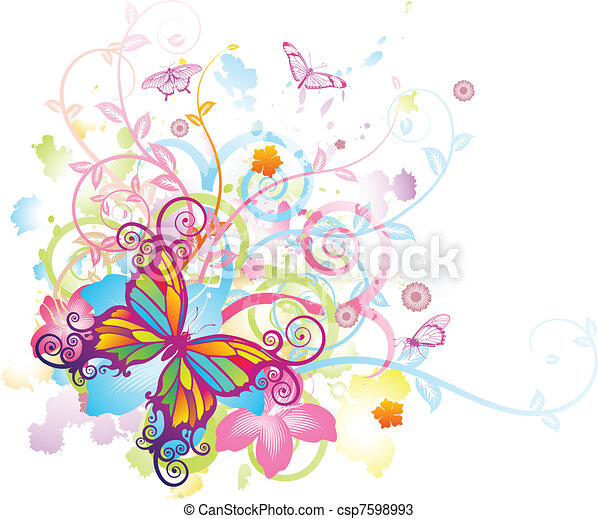 Trasfondo floral de mariposa abstracto - csp7598993