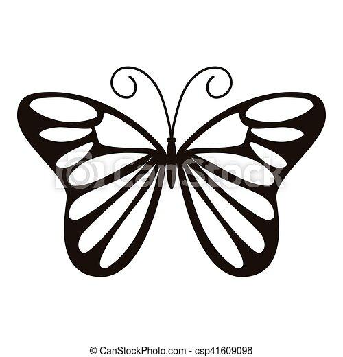 Mariposa, icono, estilo, día, simple. Mariposa, tela, simple ...