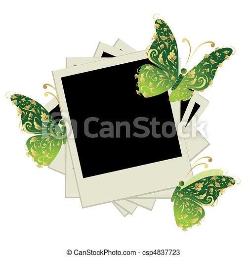 Mariposa, insertar, cuadros, fotos, decoración, marcos, pila, su.