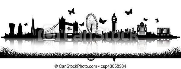 Silueta del horizonte de Londres con mariposa - csp43058384
