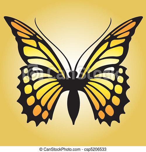 Grficos vectoriales de mariposa monarca  A brillante naranja