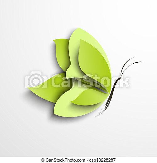 mariposa, papel, verde - csp13228287