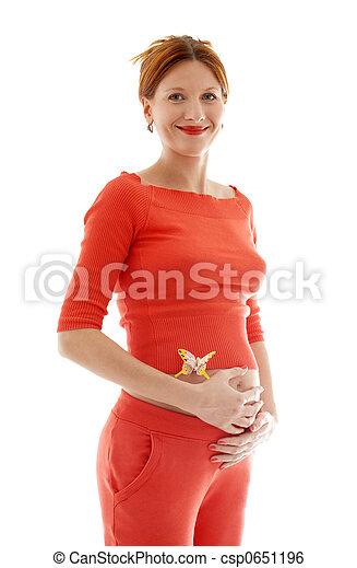 Pelirroja embarazada con mariposa en el vientre - csp0651196