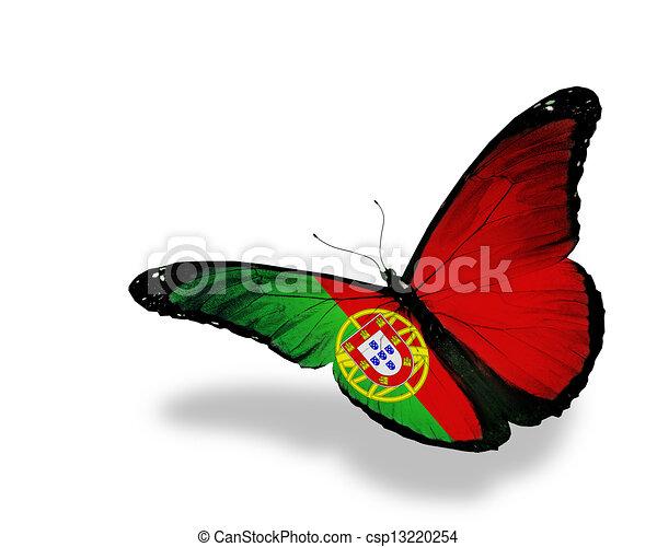 Una mariposa de bandera portuguesa volando, aislada de fondo blanco - csp13220254