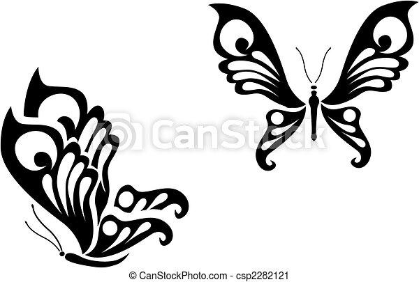 Mariposa Tatuajes Estilo Tribal Aislado Plano De Fondo Blanco