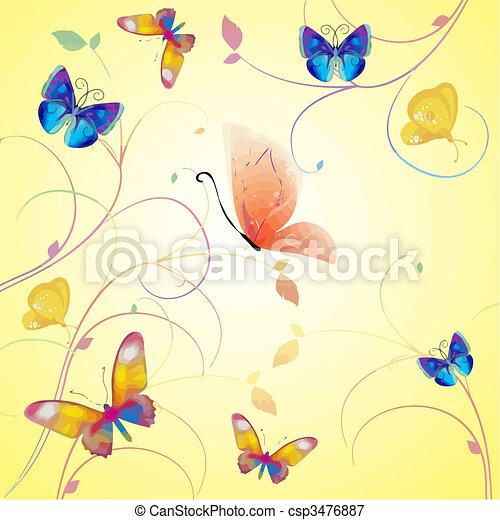 mariposa, vector, colección - csp3476887