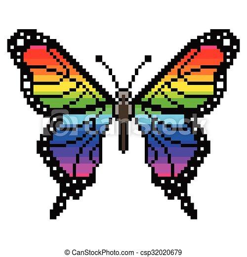 Pixel colorido vector aislado - csp32020679