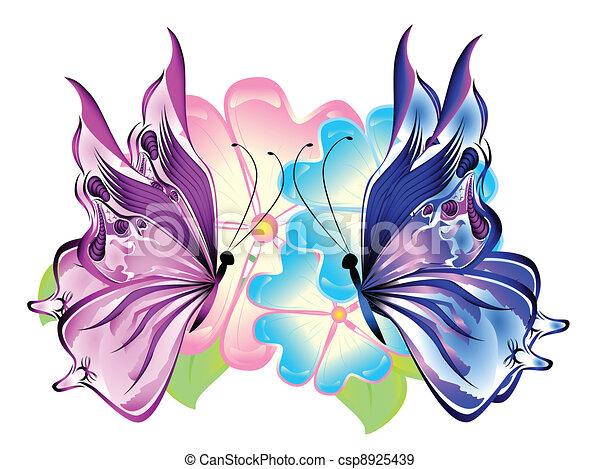 Grficos vectoriales EPS de mariposas flores  Butterflies con