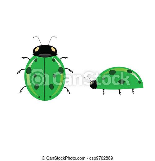 Ilustración de mariquitas verdes - csp9702889