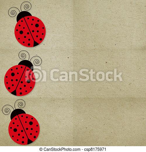 mariquitas, papel, tres, plano de fondo - csp8175971