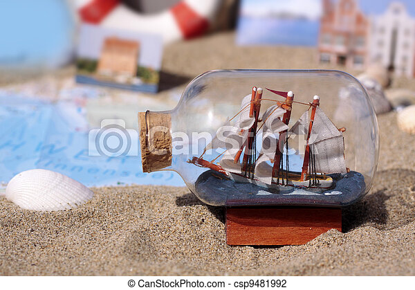 Maritime Decoration Maritime Decoration Including A Small Ship In A