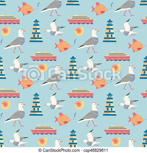 Maritime icons pattern - csp48829811
