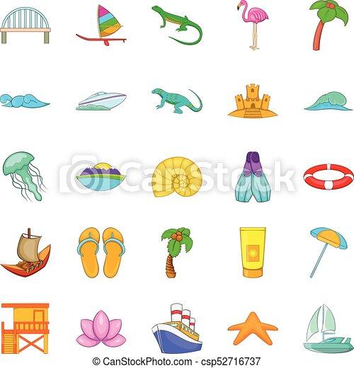 Maritime icons set, cartoon style - csp52716737