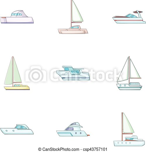 Maritime transport icons set, cartoon style - csp43757101