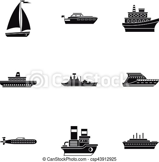 Maritime transport icons set, simple style - csp43912925