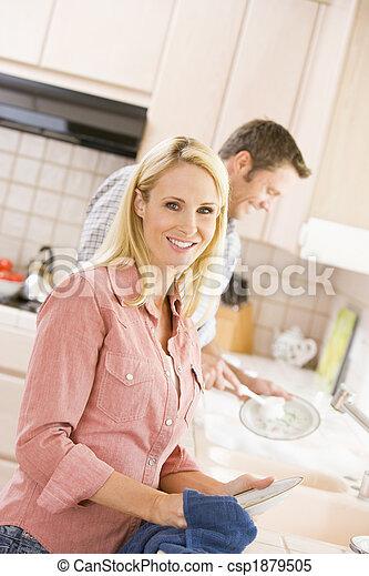 marito, piatti, moglie - csp1879505