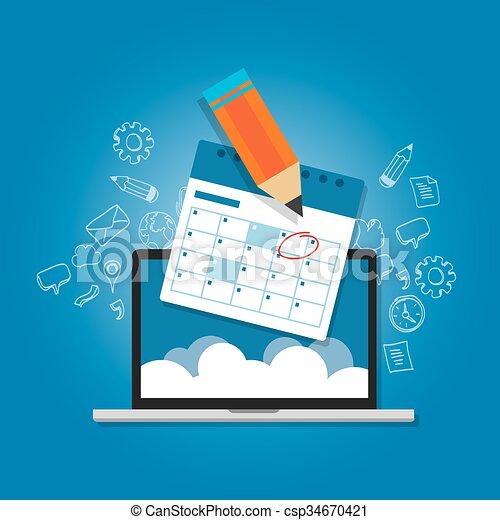 mark circle your calendar agenda online cloud planning laptop - csp34670421