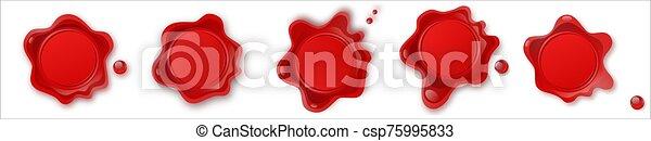 mark., francobollo, etichetta, palo, cera, signet, illustrazione, isolato, decorativemockup., white., vettore, vendemmia, elegante, letter., confidenziale, sigillo - csp75995833