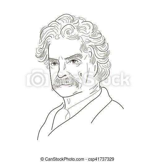 Mark Twain. Sketch illustration. - csp41737329