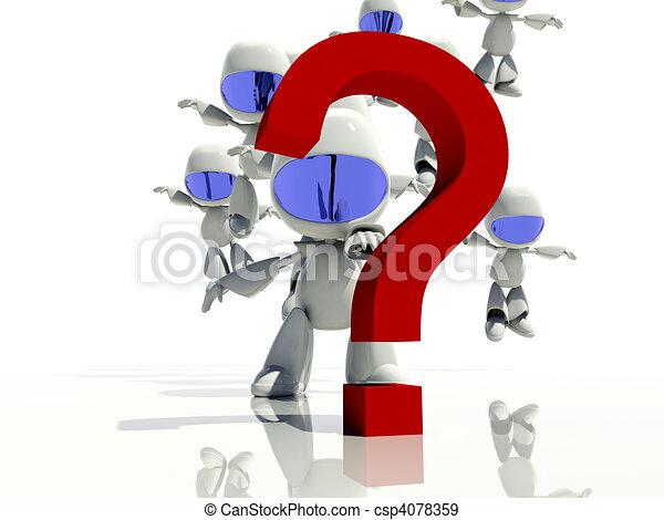 mark, vraag, antwoorden, het kijken, karakters, 3d - csp4078359