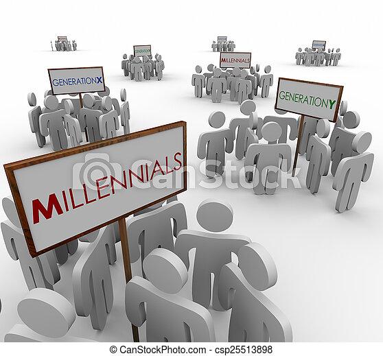 marke, 人々, 世代, 人口統計学, 若い, millennials, グループ, y, x - csp25513898