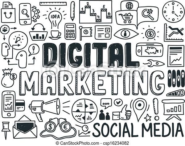 markedsføring, elementer, sæt, digitale, doodle - csp16234082